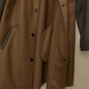 Jackets & Coats - Light Wool Trench Jacket Color Block